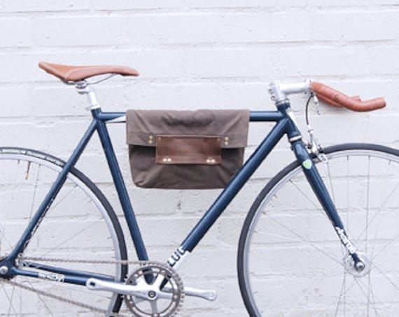 Bike 2 Function Hanging Tote Bag / Bike Tote Bag (Brown)  Waxed Canvas, Genuine Leather, Cycling Bag, Cyclist