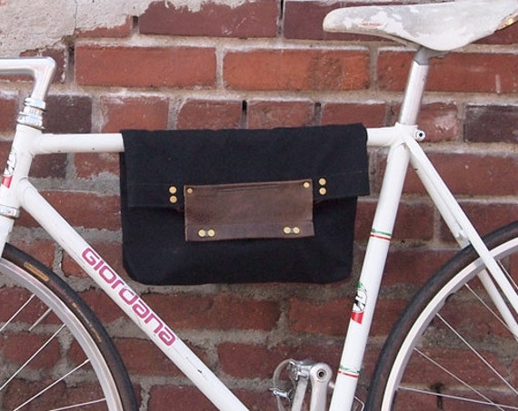 Bike 2 Function Hanging Tote Bag / Bike Tote Bag (Black)  Waxed Canvas, Genuine Leather, Cycling Bag, Cyclist