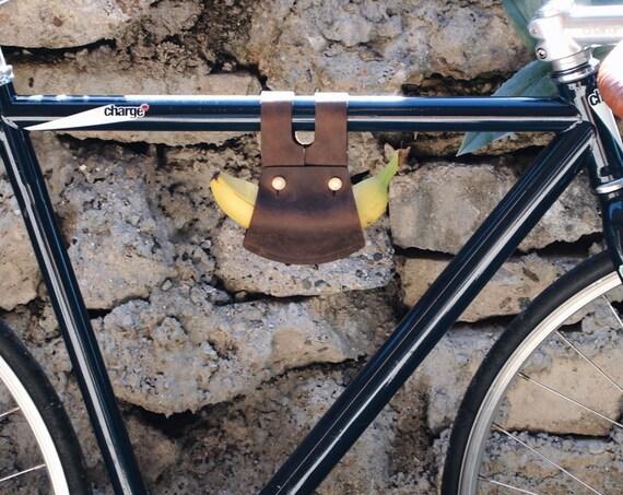 Bike banana holder leather bike accessories bike saddle bag leather bike bag cycling accessories gift cyclist gift bike lover