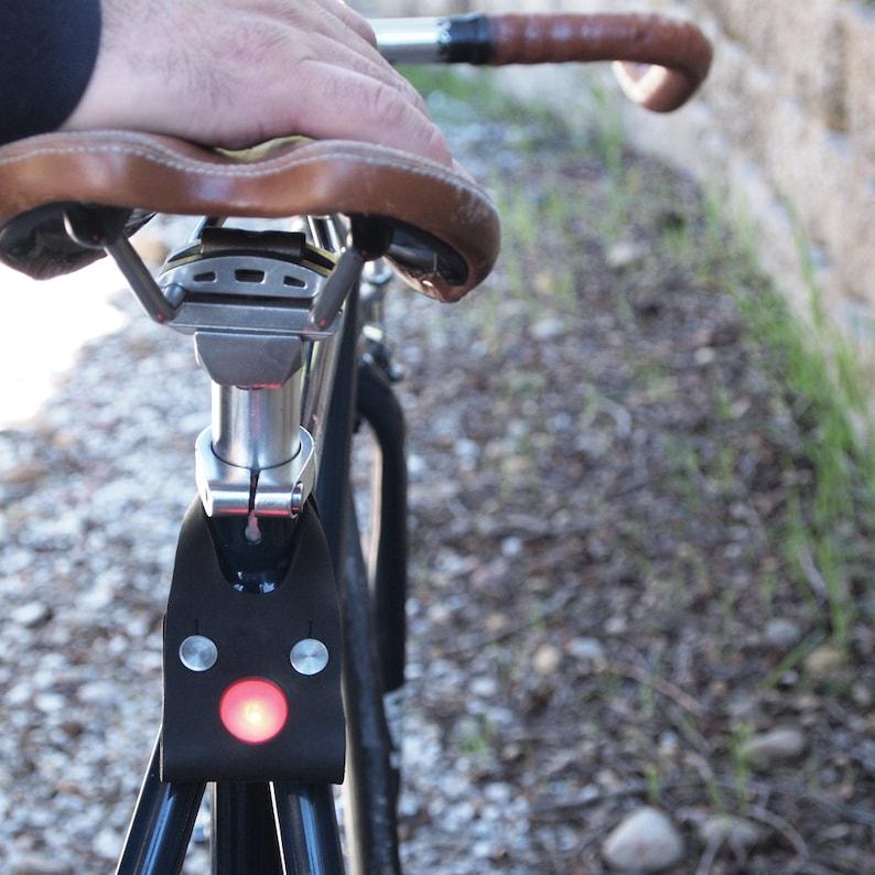 Genuine Leather LED Bike Light Black  Cycling Cyclist image 0