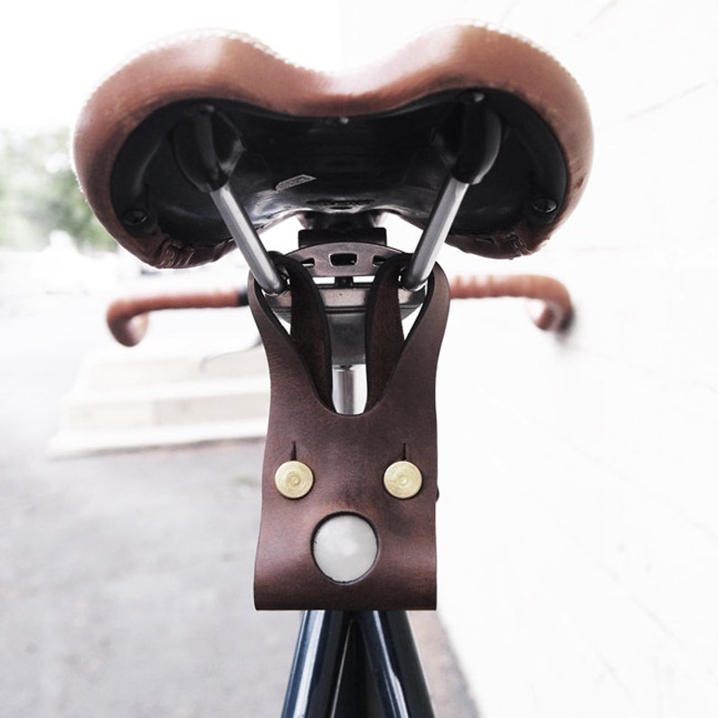 Genuine Leather LED Bike Light Brown  Cycling Cyclist image 0