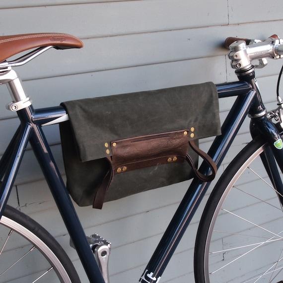 Bike 2 Function Hanging Tote Bag / Bike Tote Bag (Green)  Waxed Canvas, Genuine Leather, Cycling Bag, Cyclist