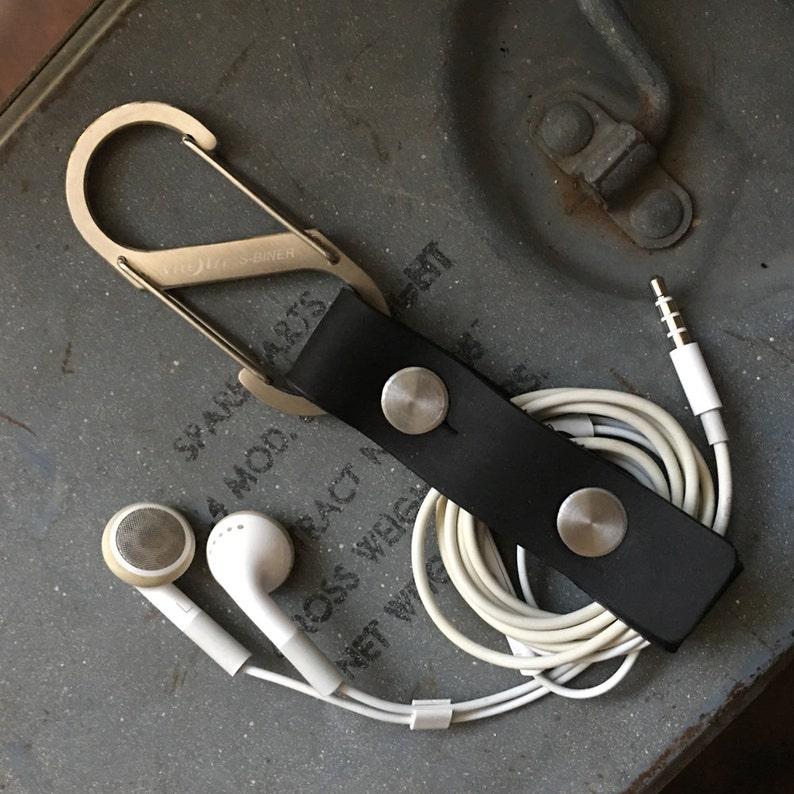 Genuine Leather Earbud HolderBlack  Earphone Cord Holder USB image 0