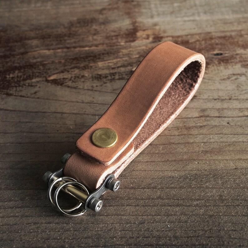 Keychain 02 / Natural  Genuine Leather Key Holder Key Fob image 0