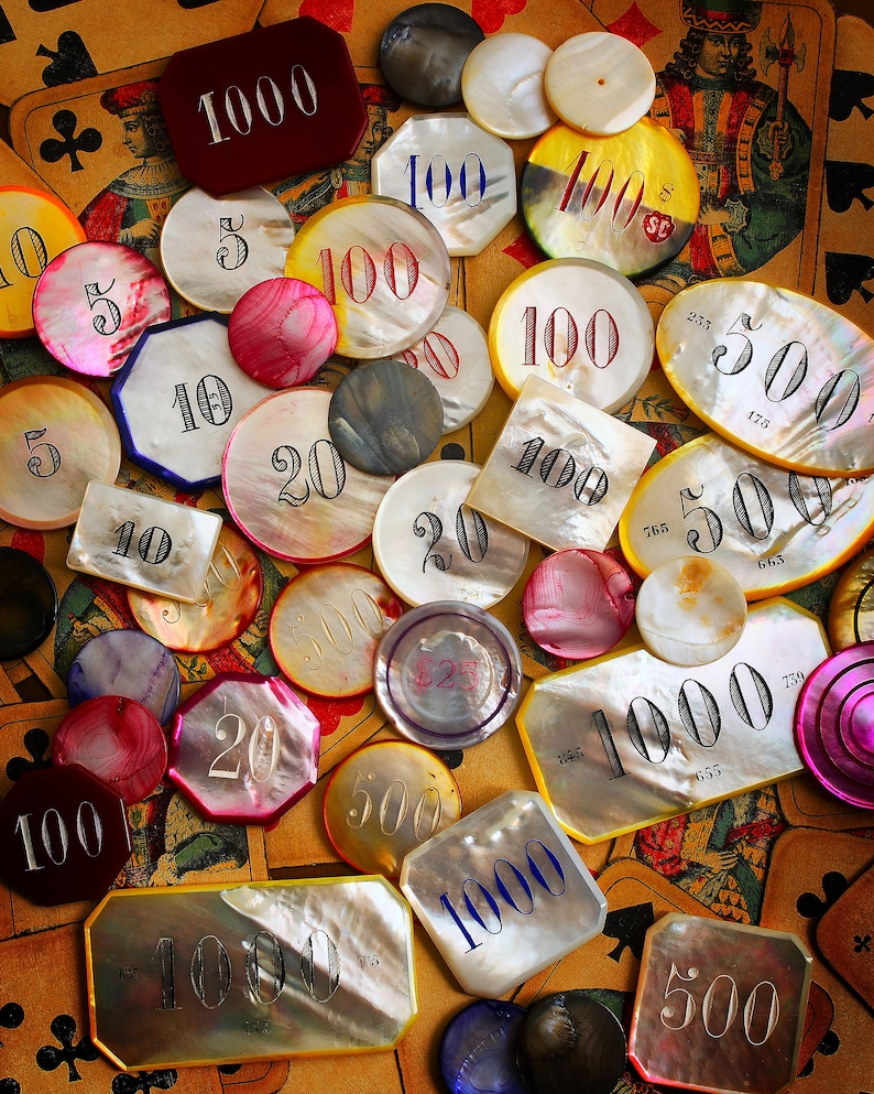 Vintage Mother of Pearl and Ivory Gambling chips Still-life image 0