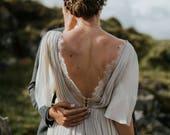 Silk wedding dress // Whitney / Lace wedding gown, summer wedding dress, bohemian wedding, boho style dress, open back bridal gown