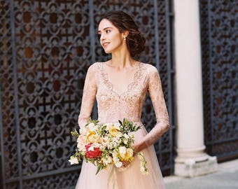 Ready to ship / Blush wedding dress / Orchidee / Tulle wedding gown, long sleeve wedding dress, A line gown, size EU34 US2, sample sale