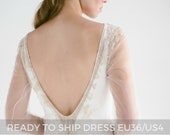 Sample sale/ Lace wedding dress/Edel/ Long sleeve ivory bridal gown, open back wedding dress, gold embroidery, mermaid skirt, long train