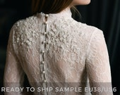 Sample sale/ Lace wedding dress / Peitho / Tulle wedding gown, ivory wedding dress, high neck lace embroidered gown, long sleeve bridal gown