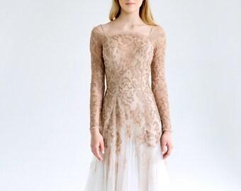 da63bcd42d1 Lace and tulle wedding dress  November  Blush-nude wedding dress