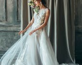 Ivory tulle wedding gown // Veronika /  Floral wedding dress, illusion neckline dress, lace bridal gown, floral embroidery dress, bohemian