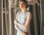 Lace wedding dress // Edel / Long sleeve bridal gown, open back wedding dress, gold embroidery dress with mermaid skirt and long train