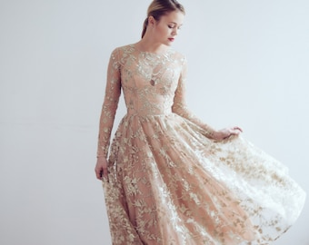 218e990ff37a Gold lace evening dress // Ready to ship/ One size /Little gold dress , lace  reception gown, lace top, party dress, prom dress, bridesmaid