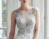 Silver gray wedding dress // Lobelia new/ Silk wedding gown, open back wedding dress, lace wedding dress, sleeveless bohemian bridal gown