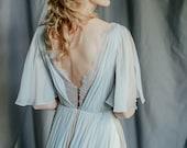 Silk wedding dress // Whitney / Grey lace wedding gown, summer wedding dress, bohemian wedding, boho style dress, open back bridal gown