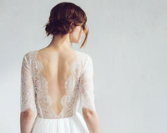 Lace wedding dress // Magnolia / Silk wedding gown, blush wedding dress, illusion neckline bridal gown, open back wedding dress, boho dress