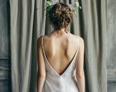 Open back wedding dress // Mallow / Simple tulle bridal gown, silk wedding dress, slip wedding dress, boho style bridal dress, lace dress
