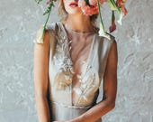 Simple silk wedding dress // Camille /  Beige bridal gown, open back wedding dress, illusion neckline dress, deep V neck dress, modest dress