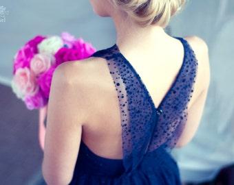Blue polka dot tulle evening dress