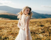 Open back wedding dress // Edel / Long sleeve bridal gown, nude tulle wedding dress, gold embroidery dress, mermaid skirt, long train