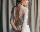 Open back wedding dress// Emilia/ Ivory silk wedding gown, summer boho wedding dress with slit, silver gray bridal gown with sleeves