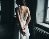 Silk wedding dress/ Amalthea/ Simple wedding gown, lace wedding dress, bohemian bridal gown, open back boho wedding dress