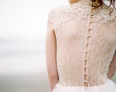Last sample / Tulle wedding gown // Peitho /  Champagne wedding dress, high neck bridal gown, Victorian style wedding dress, lace wedding dr