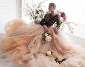 Nude tulle wedding skirt // Peony / Bridal separates, unique wedding dress, bohemian wedding, tulle wedding dress, long train dress,