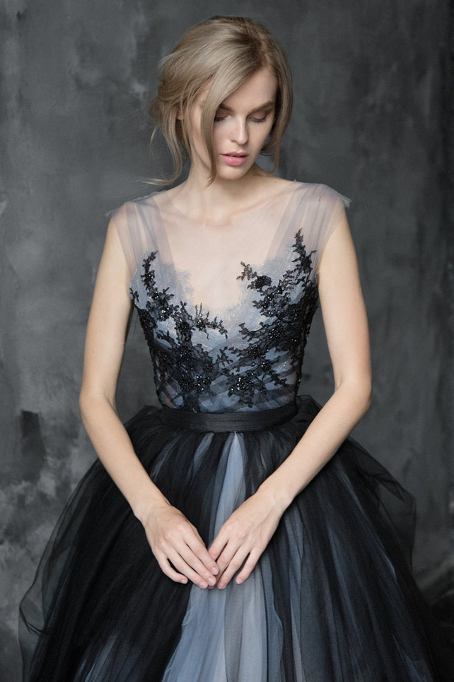Black lace wedding dress // Calypso Nightfall / Tulle bridal | Etsy