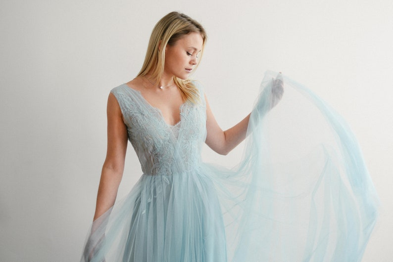Ready to ship/ Tulle ball gown light blue evening dress lace image 0