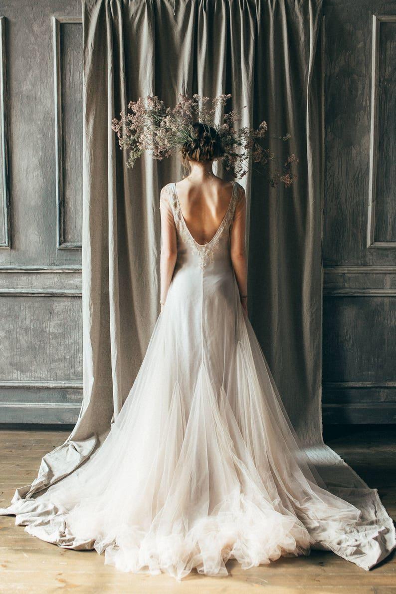 Nude Tulle Wedding Dress Edel Open Back Wedding Dress Etsy