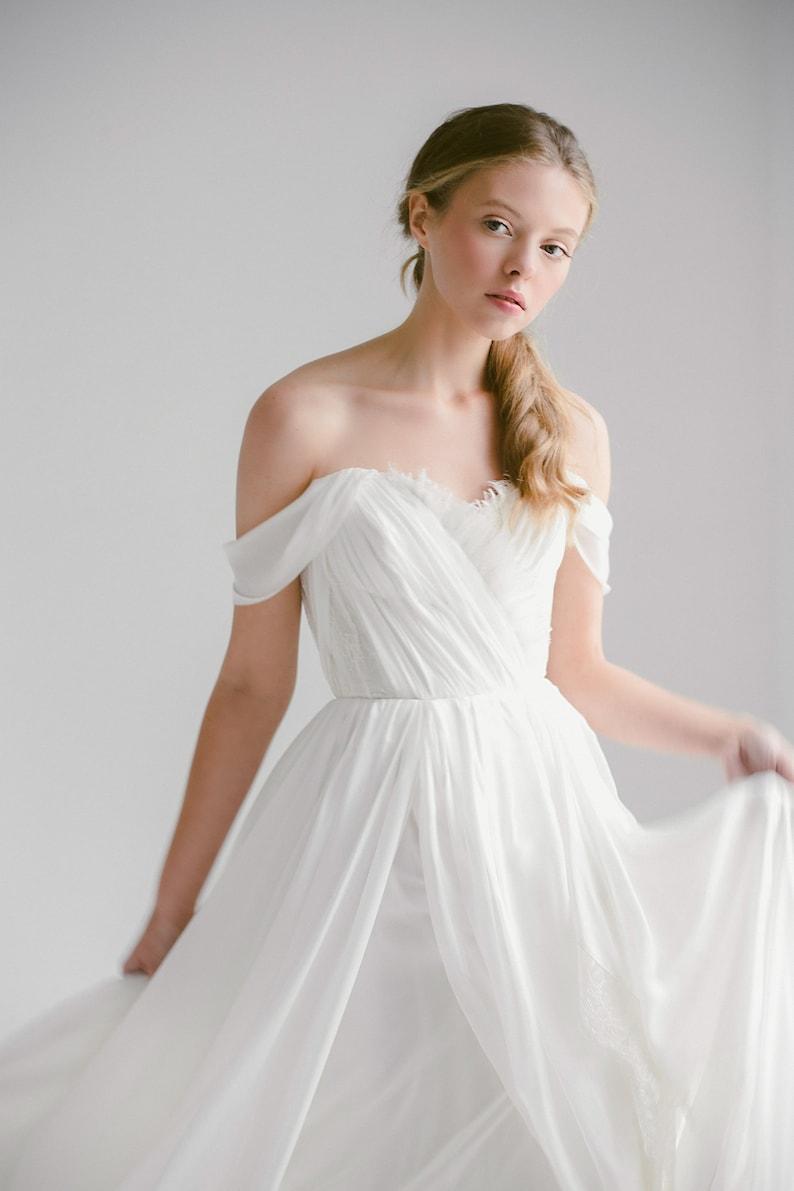 Silk Wedding Dress.Off Shoulder Wedding Dress Aura Silk Wedding Gown Ivory Bridal Gown Slit Dress Sweetheart Corset Wedding Dress Bohemian Wedding