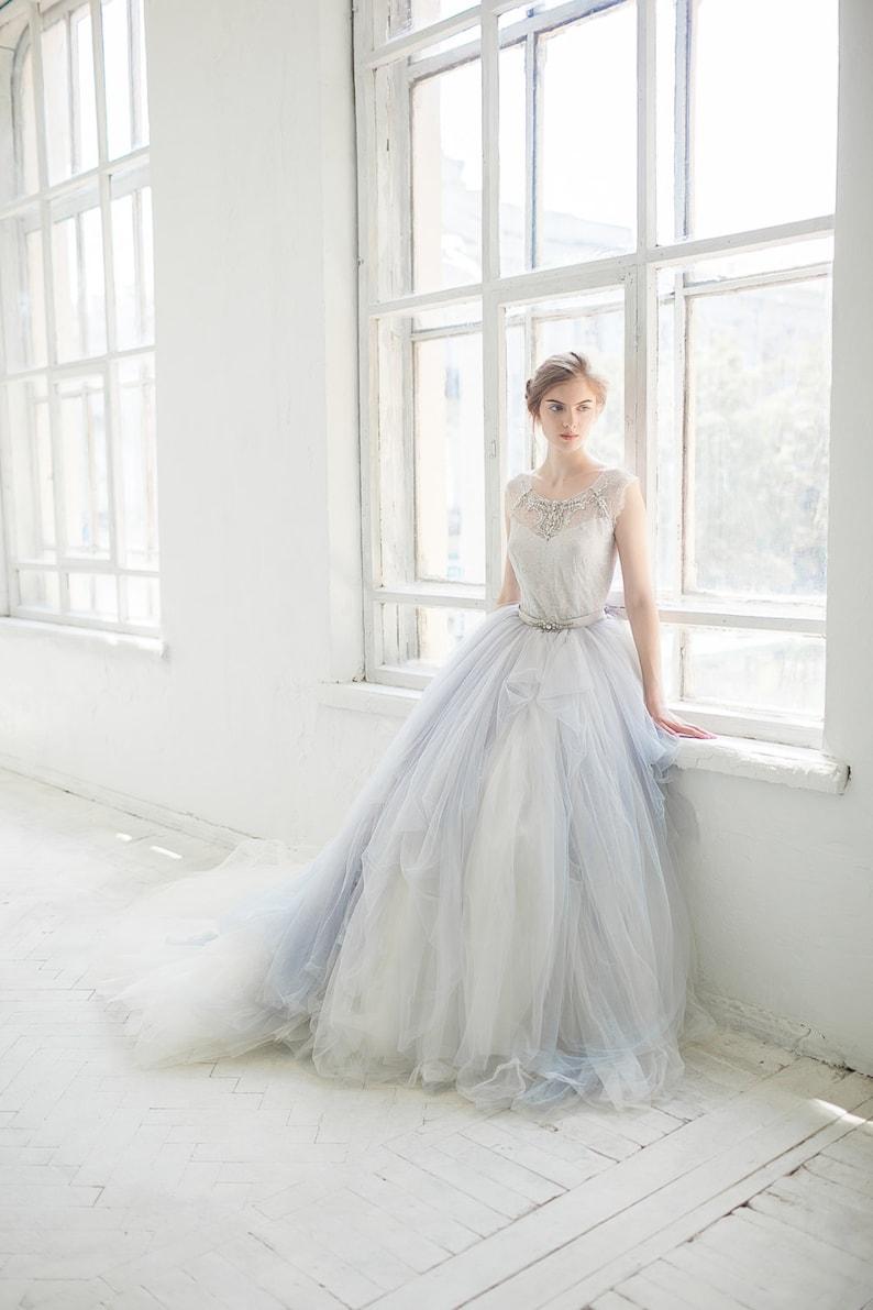 Tulle wedding gown // Gardenia /  icy gray wedding dress image 0