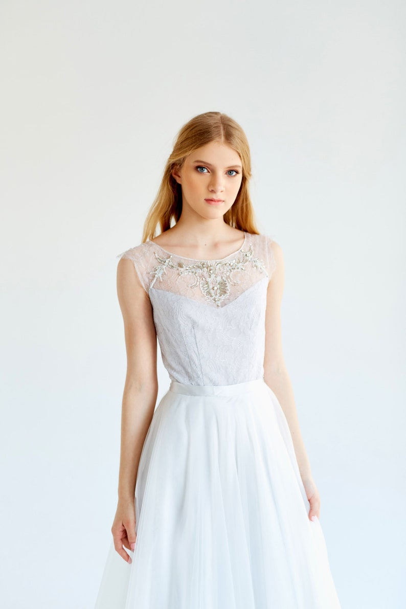 Sample sale ready to ship Tulle wedding gown Gardenia Lace wedding dress, gray bridal dress, bohemian wedding dress, bridal gown
