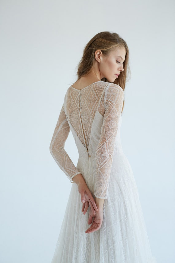 Lace Wedding Dress October Tulle Wedding Dress Silk Bridal Gown Ivory Lace Wedding Gown Romantic Wedding Dress Boho Style Dress