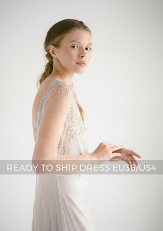Ready To Ship Dress Nude Tulle Wedding Dressedel Long Etsy