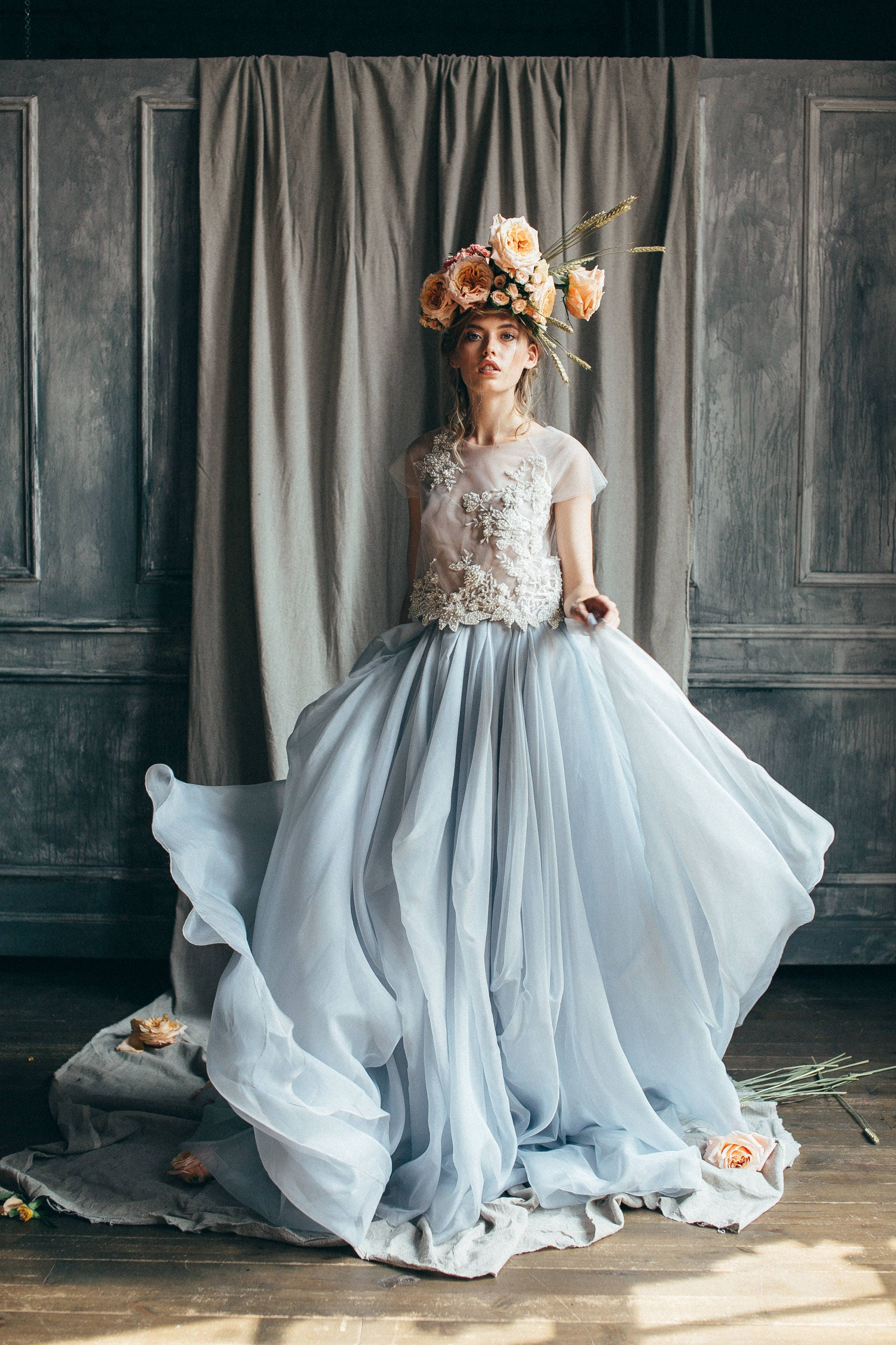 Lace wedding gown // Rosalia / Bridal separates pearl beaded