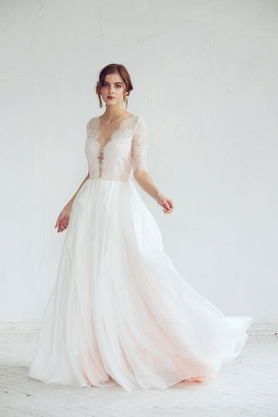 Lace Wedding Dress Magnolia Silk Wedding Gown Blush Wedding Dress Illusion Neckline Bridal Gown Open Back Wedding Dress Boho Dress