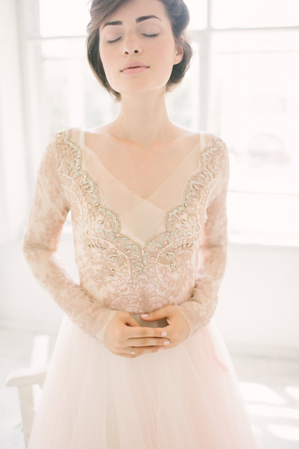 Winter Wedding Dress.Tulle Wedding Gown Orchidee Blush Wedding Dress Lace Bridal Gown Long Sleeve Dress Winter Wedding Dress A Line Bridal Dress