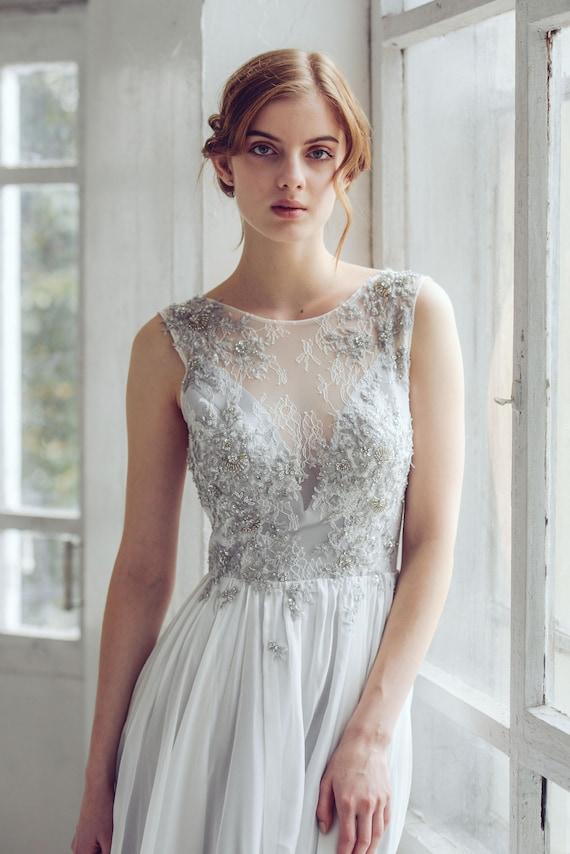 Silver gray wedding dress // Lobelia new/ Silk wedding gown | Etsy