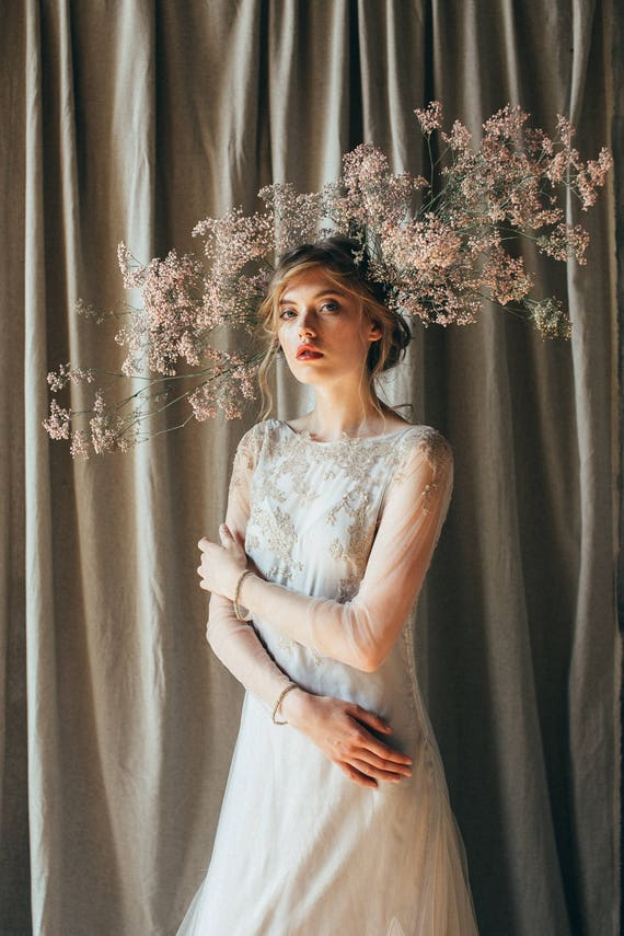 Lace Wedding Dress Edel Long Sleeve Bridal Gown Open Etsy