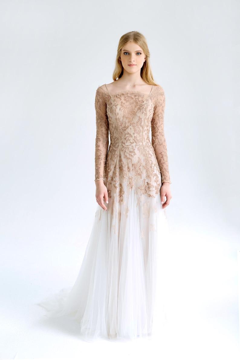 63c0070b Lace and tulle wedding dress//November/ Blush-nude wedding | Etsy
