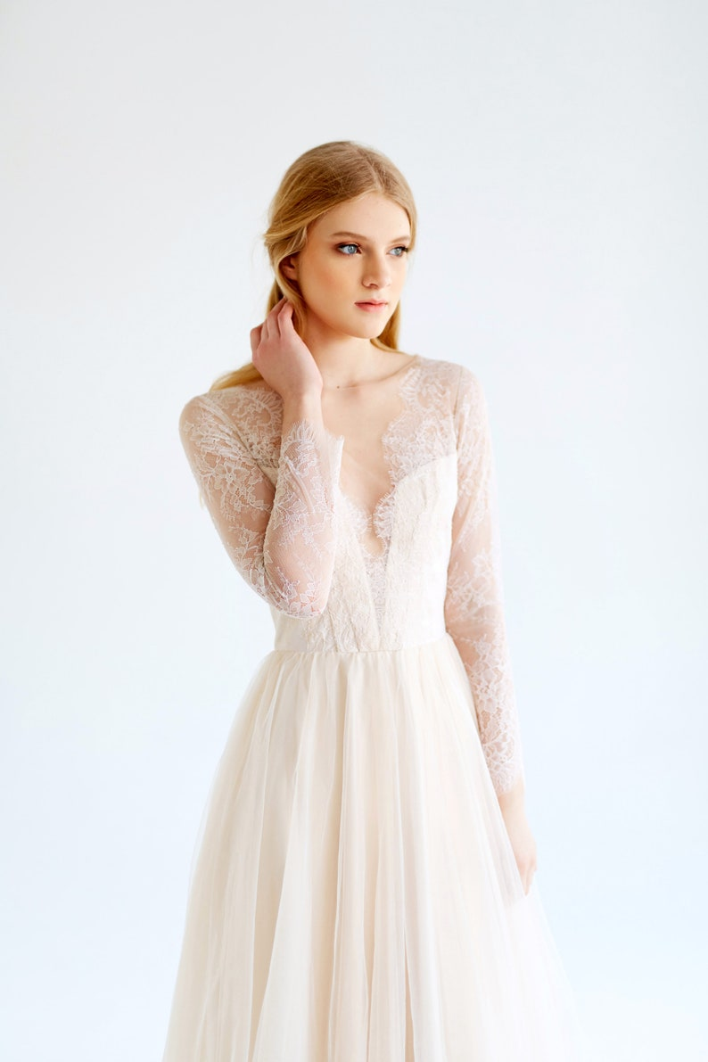 116d567c683 Sample sale/ Ready to ship/ Lace wedding dress //Magnolia / Tulle wedding  gown, cream wedding dress, long sleeve bridal gown