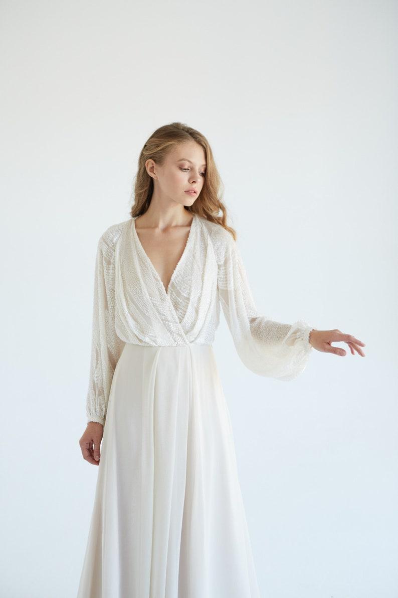 a7052f27d78 Silk wedding dress   March   Boho wedding gown ivory bridal
