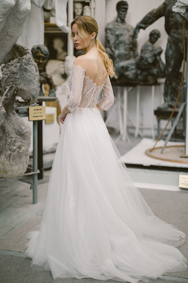 Ivory tulle and lace wedding dress