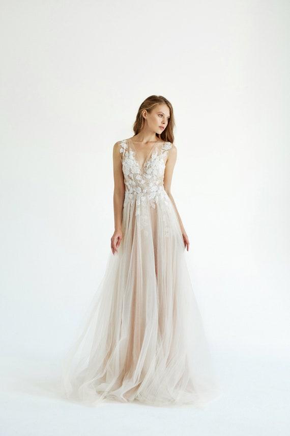Spitze Hochzeitskleid Mai Tüll Hochzeit Kleid Elfenbein Etsy