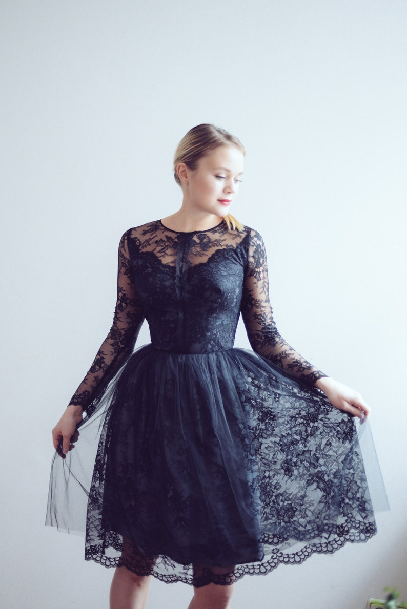 Short Lace Evening Dress Ready To Ship One Size Little Black Dress Lace Reception Gown Lace Top Party Dress Prom Dress