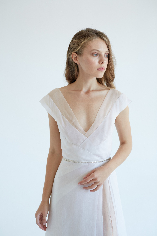 Silk Wedding Dress.Organza Silk Wedding Dress September White Wedding Dress Silk Bridal Gown Slit Wedding Dress Modern Wedding Gown Simple Wedding Dress
