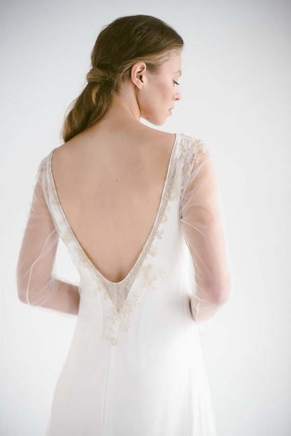Lace Wedding Dress Edel Long Sleeve Ivory Bridal Gown Etsy