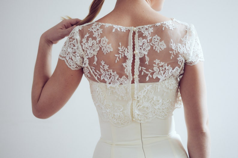 Ready to ship/ Ivory lace wedding top bridal separates lace image 0
